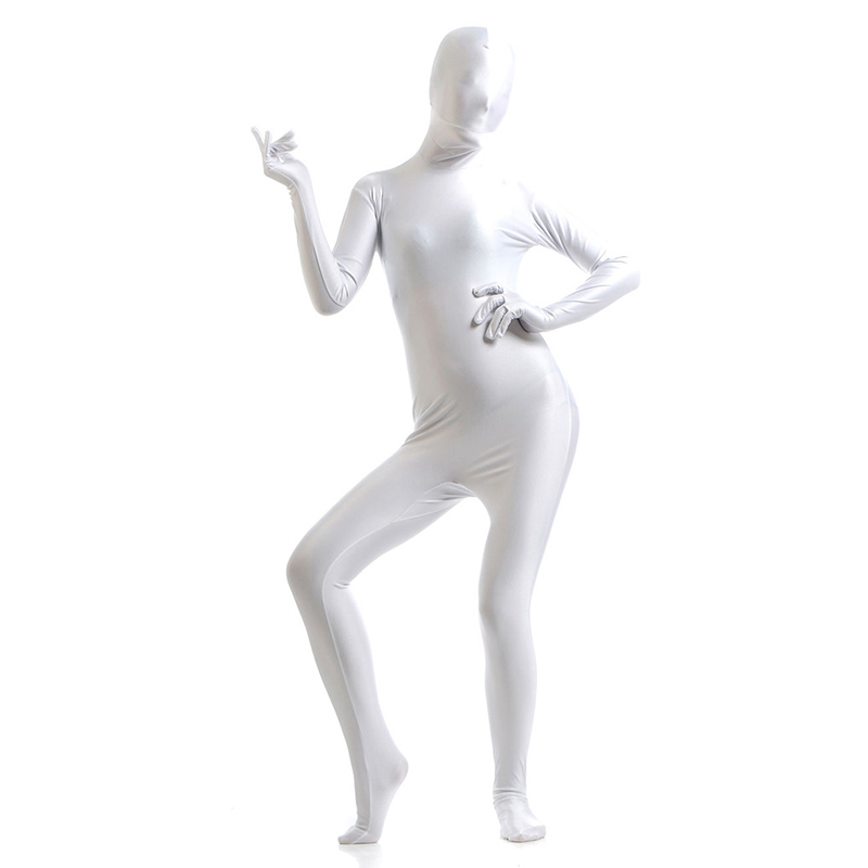 Ainclu 24 hoursWhite Lycra Spandex Zentai Suit for Women Female  Halloween Jumpsuit Romper Rush order/Same day shipping/