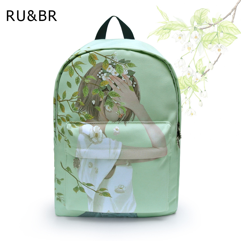 RU BR New Fresh Style Hand Painted Shoulders Bag Wear Breathable Canvas Backpack Character Pattern Female