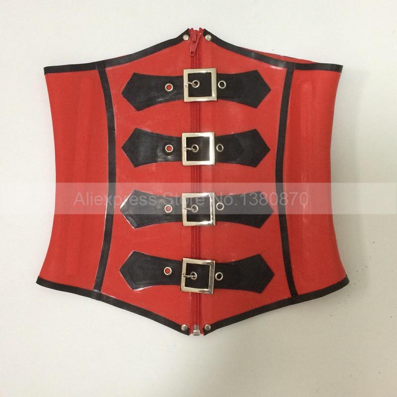 1mm Lourd En Caoutchouc Latex Femmes Corset Rouge et Noir Serre-Taille Bustier Corpetes E Espartilhos S-LCC018