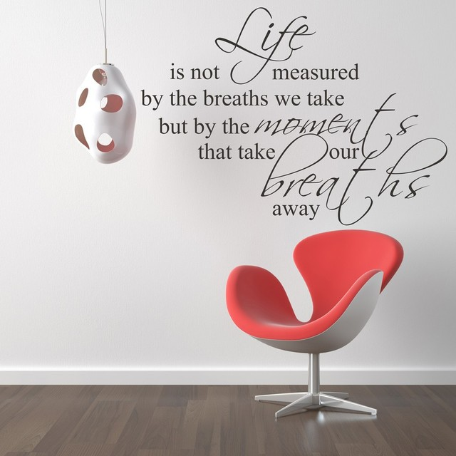 Life is not measured by breaths vinyl wall decal office wall stickers quotes sayings 40