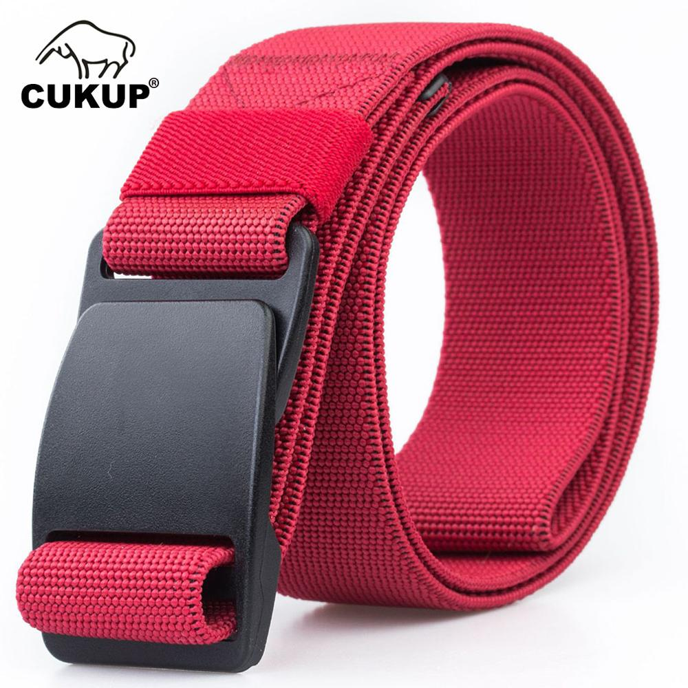 Image 5 - CUKUP Mens Brand Unisex Design Quality Hard Plastic Buckle Belt Man Quality Canvas Elastic Waistband Casual Belts Men CBCK120Mens Belts   -
