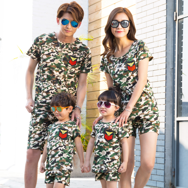 2017 Summer Camouflage T Shirt Shorts Matching Family