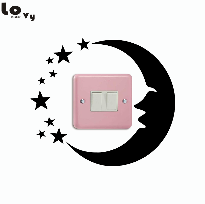 Moon And Stars Vinyl Light Switch Sticker Creative Cartoon Silhouette Wall Sticker for Kid Room Bedroom Home Decor