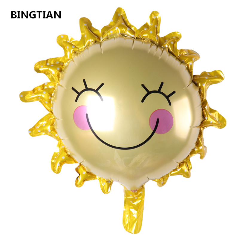 BINGTIAN sunflower foil balloons kids birthday party gifts classic toys kindergarten decoration holiday supplies sun balloons
