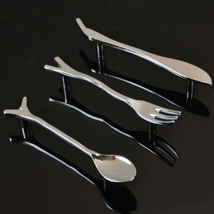 6PCS/Lot Retro Tableware Knife/Spoon/Fork Zinc Alloy Kitchen Cupboard Cabinet Wardrobe Door Drawer Pull Handle spoon black antique silver cabinet drawer pull vintage nickel fork dresser door handle retro creative tableware handle knife
