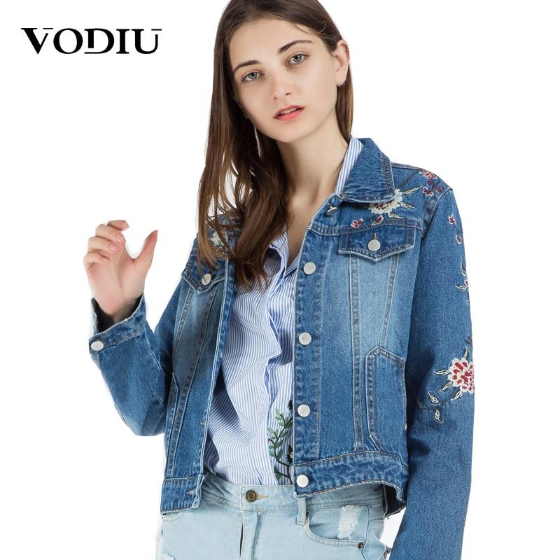 denim   jacket   women embroidery jeans coat floral short long sleeve fashion 2018 slim   basic   coats female tops outwear jean   jackets