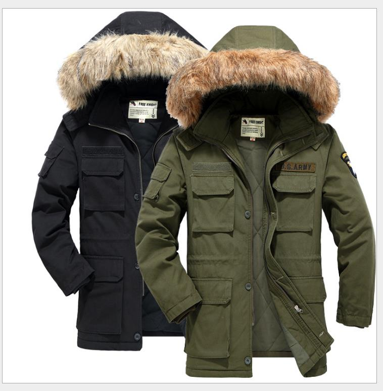 The 101 airborne division in the outdoor clothing coat removable cap black jacket in green cotton sky blue cloud removable hat in the long section of cotton clothing 2017 winter new woman