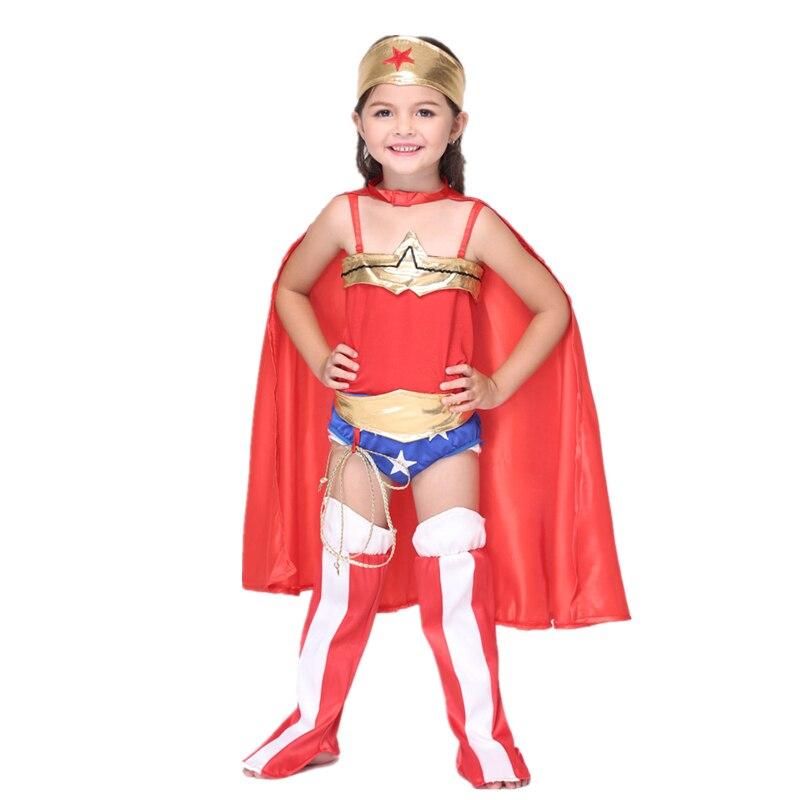 6PC Child Wonder Woman Costume Halloween Kids Superhero Costume with Superhero Cape Disfraces Infantiles Superheroes Costumes