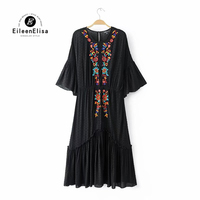 Solid Embroidery Dresses 2017 Autumn Winter Fashion Women Elegant Half Flare Sleeve Dress Lining
