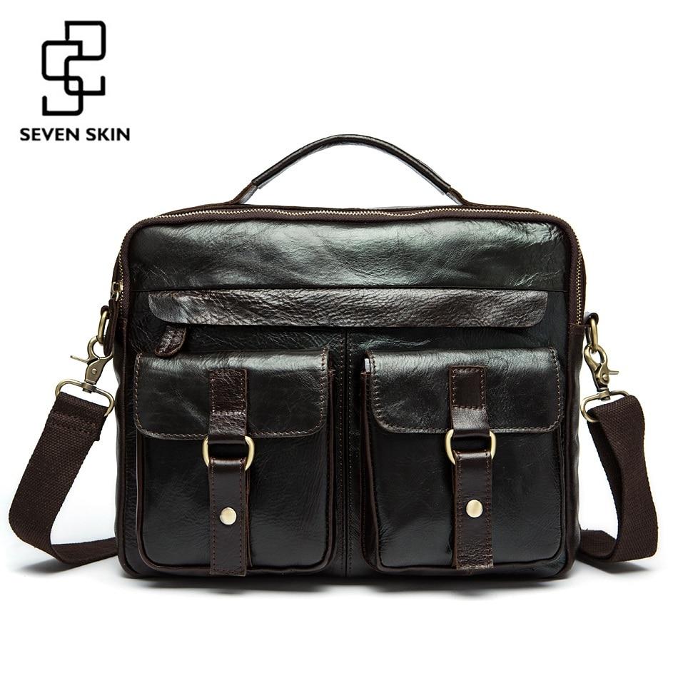 Famous Brand Crazy Horse Genuine Leather Men Messenger Bags Men's Casual Handbag