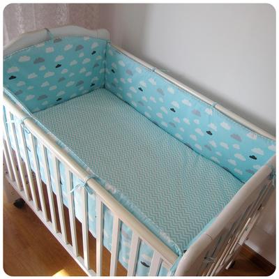 Promoção! 6 PCS Bebê Berço cama definir 100% de cama de algodão em torno de conjunto de berço cama de bebê em torno, inclui :( bumpers + folha + fronha)
