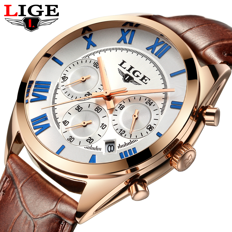 Reloj Hombre LIGE Brand Fashion Casual Business Watches Men Date Waterproof Quartz Mens Sport Watch Man Clock relogios masculino reloj hombre curren gold watch men leather date day hours quartz casual watches mens rectangle wristwatches 30m waterproof 8097