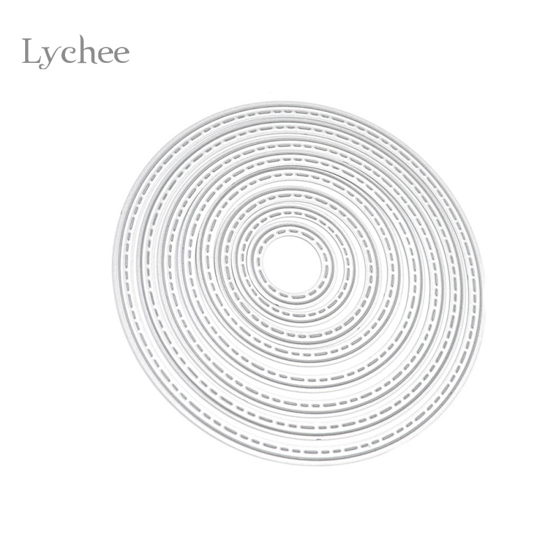 Lychee DIY Cirkelmetall Cutting Dies Stencil Embossing Card Scrapbooking Album Dekoration Craft Dysskärning Mall Folder