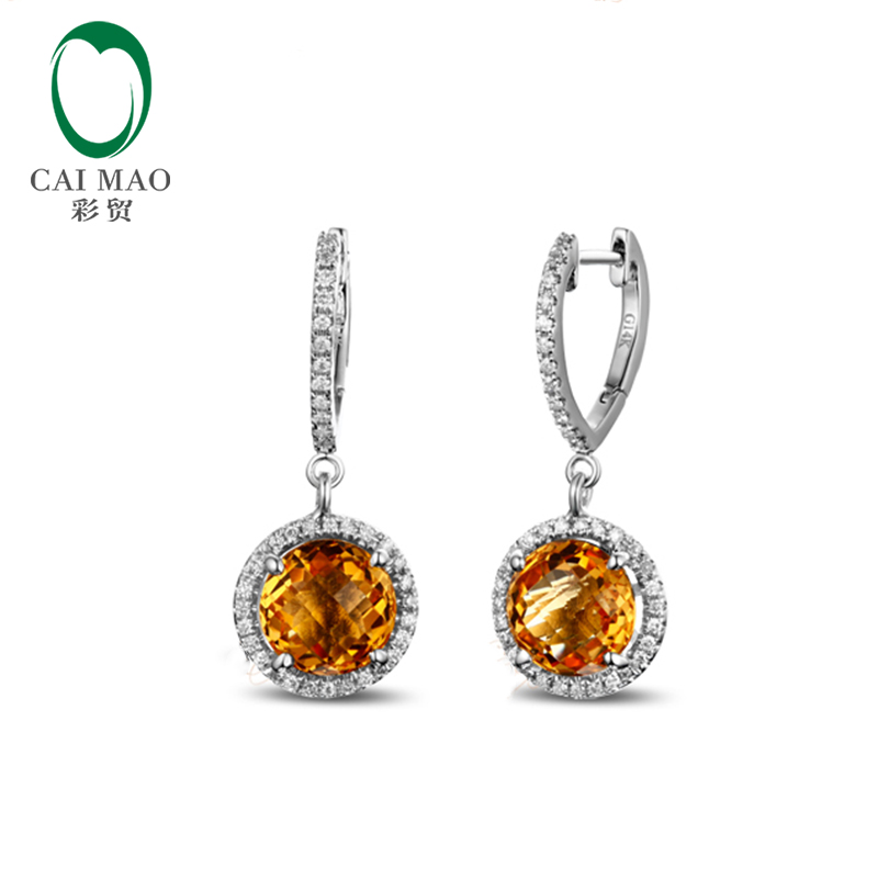 4 89ct 14K White Gold Flawless Yellow Citrine Diamond Engagement Drop Earrings