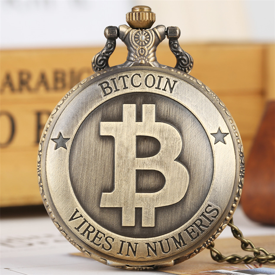 Antique Bronze Bitcoin Display Full Hunter Quartz Pocket Watch Exquisite Necklace Chain Souvenir Pendant Clock Men Women Reloj