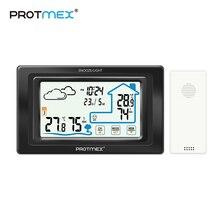 جهاز استشعار شاشة اللمس الأسود Protmex PT19A جهاز استشعار محطة الطقس مقياس الرطوبة جهاز استشعار رقمي للتنبؤ بالأماكن المفتوحة والمنزل