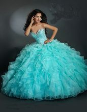 2016 Hot Sales Quinceanera Party Ball Gown Sweetheart Floor Length Beaded Crystals Vestidos De 15 Anos Organza Size 2-28