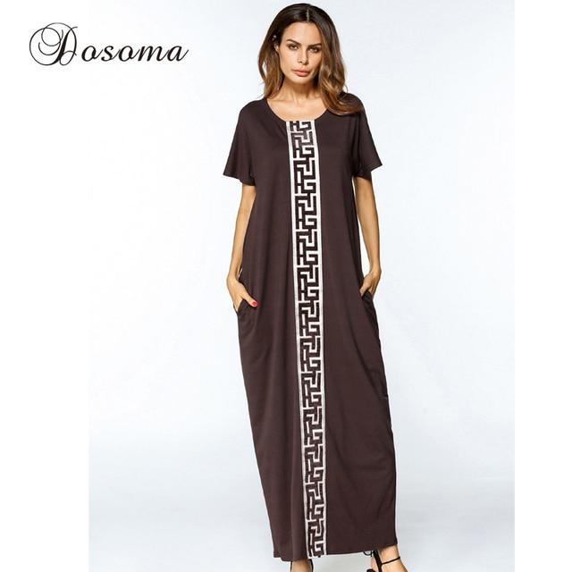 Women Cotton Abaya Plus Size Long Robe Maxi Dress Embroidery Dubai ...