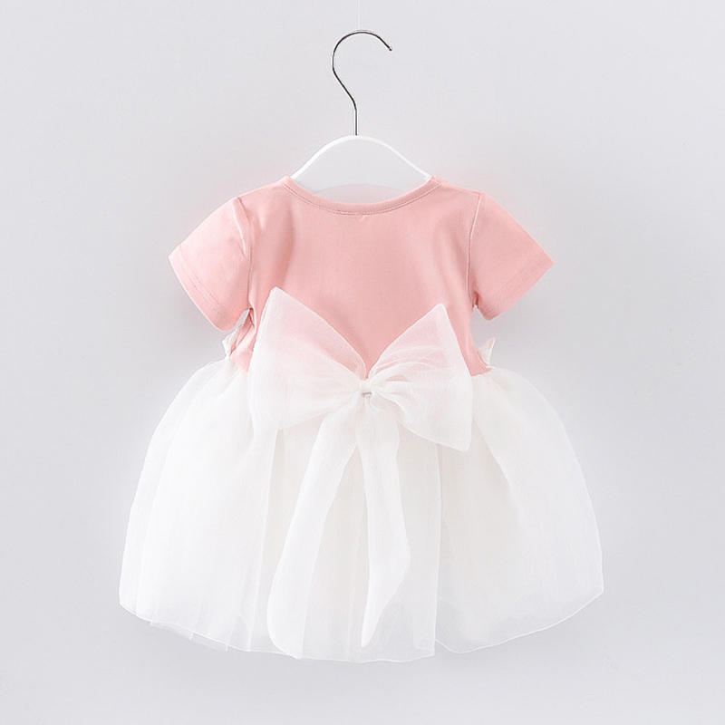 Baby Girl Dress 2017 New Summer Solid Cotton Bow Lace Dresses For Girls Casual Birthday Party Infant Clothes 1-3T Clothing 2016 new kids baby girls white chic fairy lace floral party solid gown fancy dresses baby summer casual dress clothes