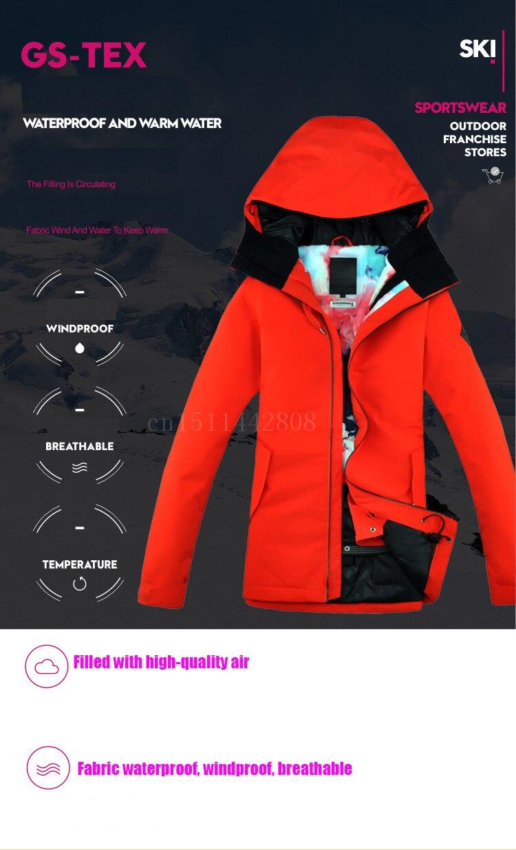 definir gsou neve terno de esqui feminino casaco escarlate
