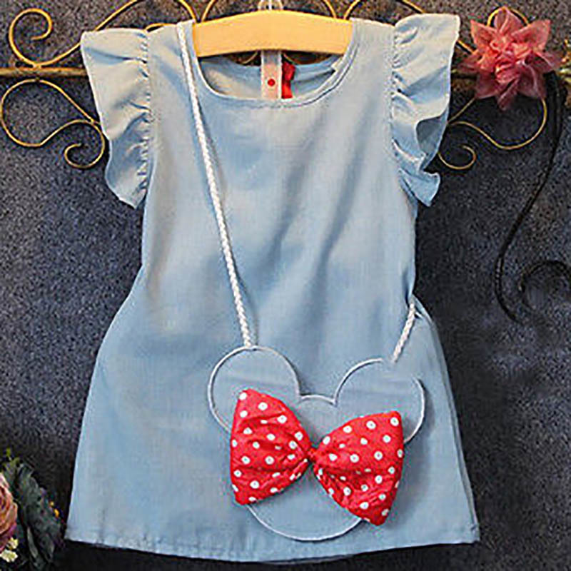 Baby Dress Hot Sale 2019 Europe And America Summer Children's Floral Cowboy Minnie Satchel Dress Striped Cartoon Girl Dress