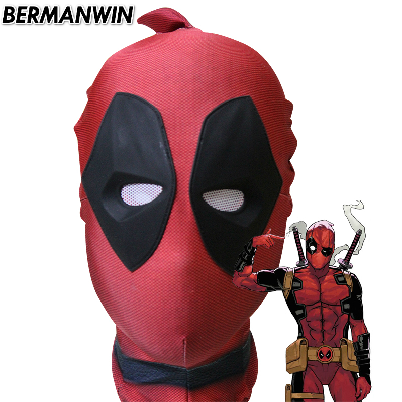 BERMANWIN High Quality Deadpool Mask spandex lycra Deadpool Hood with 3d soft rubber lenses