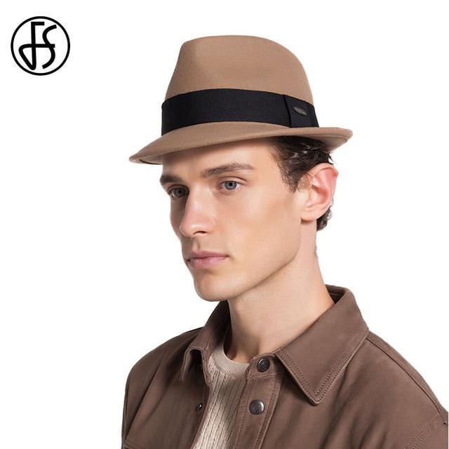 7c8a24faa9c57 FS Do Vintage chapéu de Feltro Preto Para Gentleman Qualidade Austrália  Clássico Curto Aba do chapéu