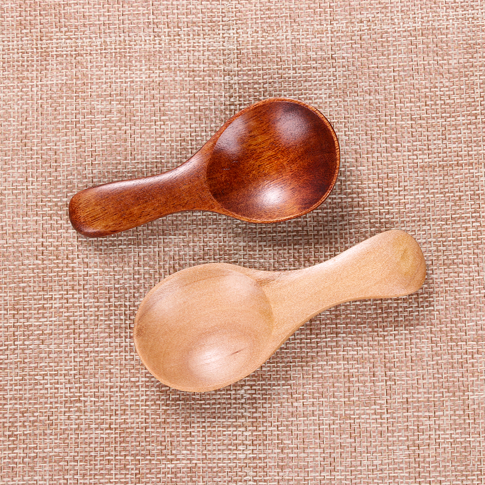 2Pcs Wood Condiment Scoop Flatware Coffee Tea Small Mini Sugar Spoon Salt Wood Spoons Cooking Tools Kitchen Gadgets