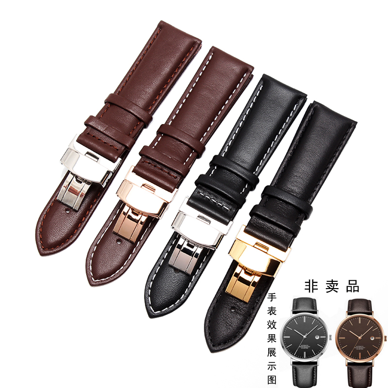 Hight quality Black Brown Genuine Leather Watch Strap Butterfly Deployment Clasps Watch Band 18mm 19mm 20mm 21mm 22mm все цены