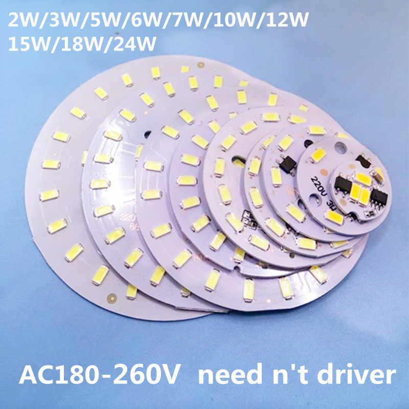 где купить 220v SMD 5730 aluminum led pcb 2W 3w 5w 6W 7w 10w 12w 15w 18w 24w integrated driver lamp plate White/ Warm White For LED Bulb дешево