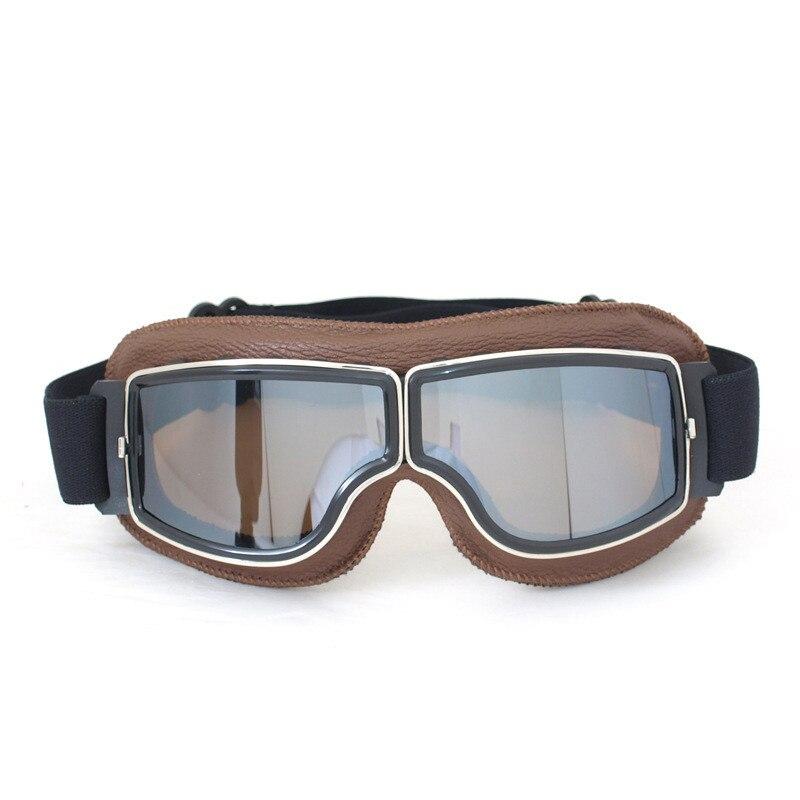 2016 nouveauté WWII Vintage moto lunettes Harley Style pilote moto lunettes en cuir rétro Jet casque lunettes