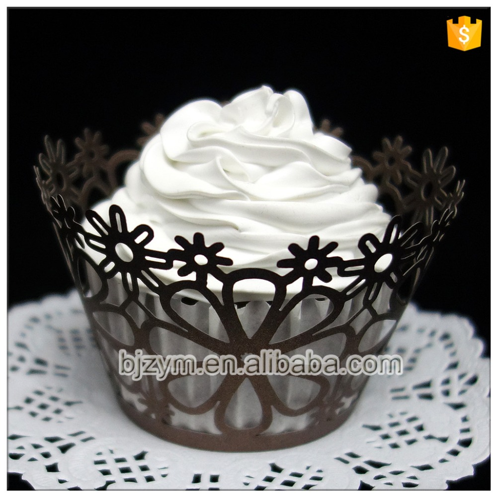 Cake store decorating laser cutting brown paper flower cupcakes cake store decorating laser cutting brown paper flower cupcakes baking cups wrappers 12 pcslot on aliexpress alibaba group izmirmasajfo