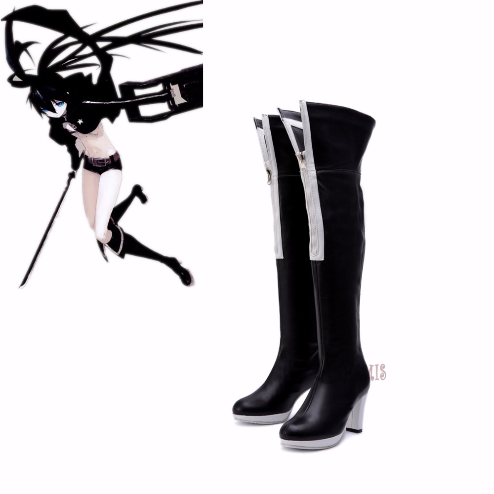 Athemis Anime cosplay VOCALOID Hatsune Miku BLACK ROCK SHOOTER Cosplay boots Hight quality black shoes