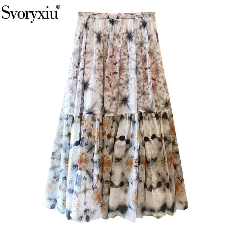 Svoryxiu Summer Runway Chiffon Skirt Women's Floral Print Elegant Holiday Party Skirt