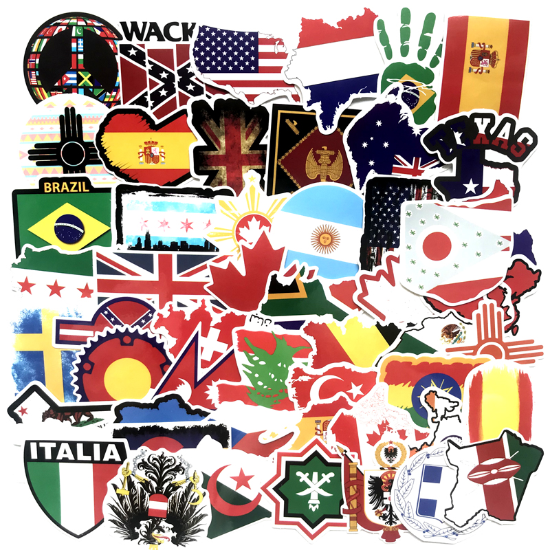 Personality Cool Stickers 52 Country Flags Children's Toys Country Map Travel Stickers DIY Scrapbook Suitcase Laptop Motorcycle
