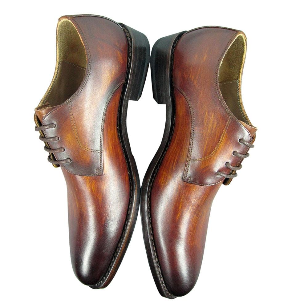 De Couro Vintage Sapatos Vestido Ternos Brown Welted Real Derby Patina Luxo Amarelo Sipriks Mens Goodyear Yellow Do qwInxBZXf