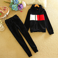 2017 Costume Tracksuit for Women Winter Warm Suit Female Jacket and Trousers Hooded Velvet Thick Runway Womens 2 Piece Pants Set