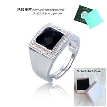 luxury high-end black cubic zircon stone with some white CZ engagement silver 925 rings, men jewelry