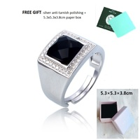 luxury high end black cubic zircon stone with some white CZ stone engagement silver 925 rings, men jewelry