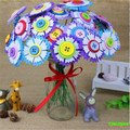 HAPPYXUAN DIY Flower Bouquet Color Button Non-woven Material Creative For childrens Handmade Gift