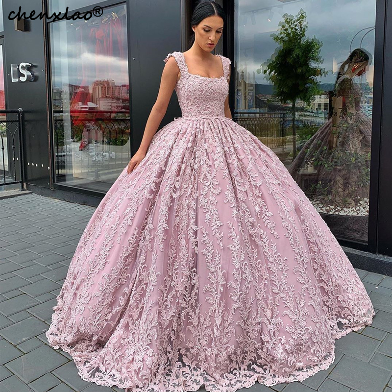 2019 New Pink Evening Dresses Long Square Spaghetti Strap Sleeveless Floor Length Formal Gowns Evening Dress Vestidos