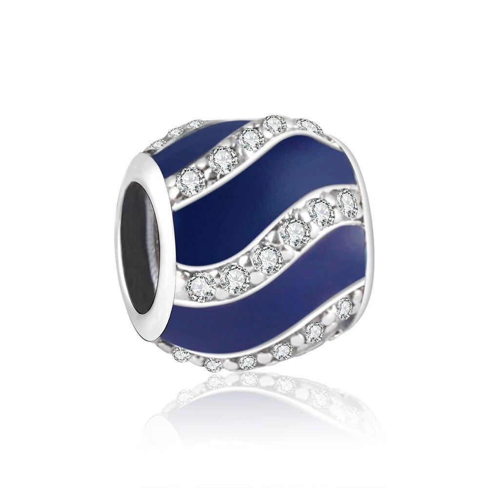 b9e4cc7f2353 2018 primavera 925 plata esterlina Amuletos Fit original Pandora encanto pulsera  Cuentas con claro zircoun esmalte azul DIY berloque