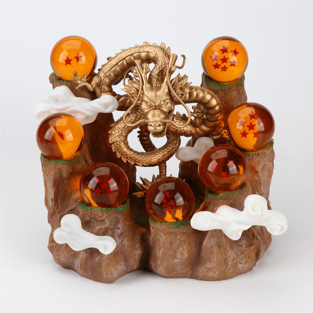 TAIHONGYU 1set Dragon 7 Balls Z Mountain Action Figures Shenron Rockery Tree Stump Stand DBZ Set Esferas Del Dragon Toys