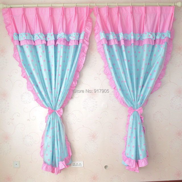 Cute Pink Polka Dot Curtains Romantic Korean Home Goods Curtains Set  Elegant Bedroom Window Decoration Modern