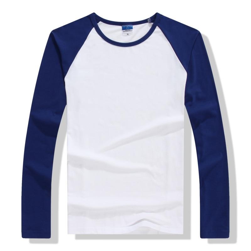 2017 spring summer long sleeve t shirt men contrast color for Round collar shirt men