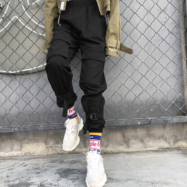 Pants black loose plus size fitness running pants Male hip hop streetwear