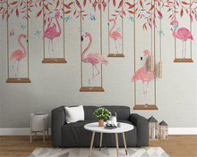 beibehang Modern minimalist fashion three-dimensional flamingo personality children room background papel de parede 3d wallpaper