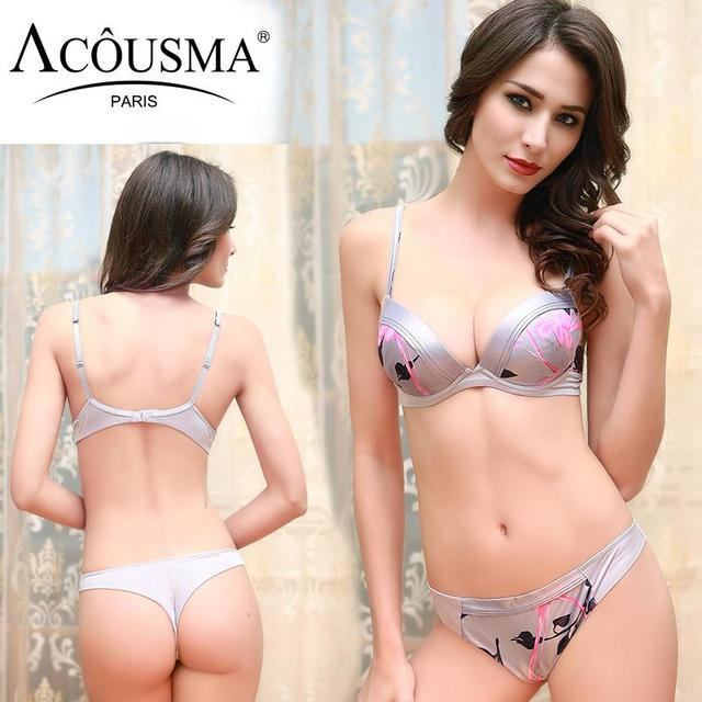 cb563a2c8 Balaloum Silk Sexy Bra Set Floral Silver Brassiere Thong Sets Thick Pad Push  Up Cheeky Ladies