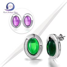 Merthus 925 Sterling Silver Charm Earring Created Emerald Engagement Party Anniversary Stud Earing Stud for Fashion Women