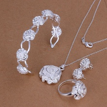 Silver plated gorgeous fashion noble elegant luxury roses bangle necklace ring earring 4pcs sets silver jewelry